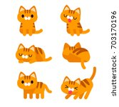 vector set of cute orange short ... | Shutterstock .eps vector #703170196