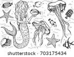 hand drawn mermaid and... | Shutterstock .eps vector #703175434