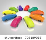 3d rendering  cars in a circle... | Shutterstock . vector #703189093