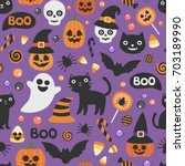 vector cute seamless halloween... | Shutterstock .eps vector #703189990