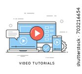 video tutorials  online... | Shutterstock .eps vector #703216654