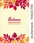 various autumn leaves vertical... | Shutterstock .eps vector #703221700