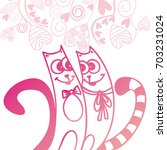 cute cartoon cats. vector...   Shutterstock .eps vector #703231024