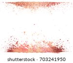 Stock photo samples of dry blush powder bronzers and highlighter scattered in a line isolated on a white 703241950