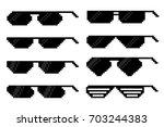 glasses in pixel art style. | Shutterstock .eps vector #703244383