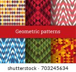 seamless geometric patterns set. | Shutterstock .eps vector #703245634