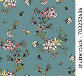 seamless floral pattern in... | Shutterstock .eps vector #703252636