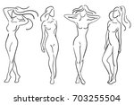 a set of female figures.... | Shutterstock .eps vector #703255504