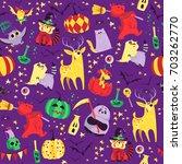 vector seamless halloween... | Shutterstock .eps vector #703262770
