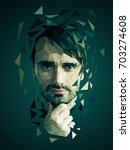 low poly portrait of a man ... | Shutterstock .eps vector #703274608