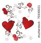 Vector Set Of Red Hearts And...