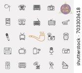vintage retro line icon set | Shutterstock .eps vector #703303618