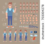front  side  back view animated ... | Shutterstock .eps vector #703304278