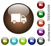 delivery truck white icons on... | Shutterstock .eps vector #703314334