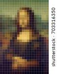 mona lisa pixel style abstract