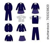 set of school uniform for a boy ... | Shutterstock .eps vector #703323820