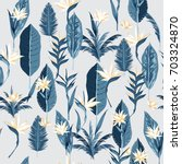 blue leave seamless hand drawn... | Shutterstock .eps vector #703324870