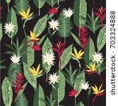 seamless hand drawn tropical... | Shutterstock .eps vector #703324888