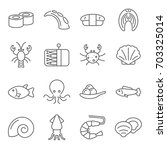 simple set of seafood related... | Shutterstock .eps vector #703325014