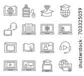 simple set of online education... | Shutterstock .eps vector #703325059