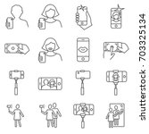 simple set of selfie related... | Shutterstock .eps vector #703325134