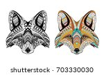 Patterned Head Of Fox. Adult...