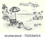 vacation scene on the beach... | Shutterstock .eps vector #703336414