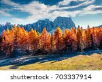 gorgeous sunny view of dolomite ... | Shutterstock . vector #703337914
