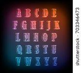 neon glow alphabet vector...   Shutterstock .eps vector #703346473