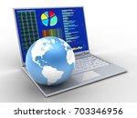 3d illustration of laptop over... | Shutterstock . vector #703346956