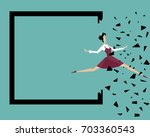 a woman jumps beyond her own... | Shutterstock .eps vector #703360543