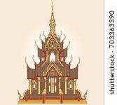 thai golden temple isolated on... | Shutterstock .eps vector #703363390