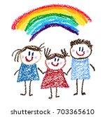 happy children kids drawing... | Shutterstock . vector #703365610