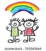 happy children kids drawing... | Shutterstock . vector #703365664