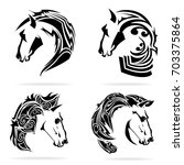 horse set  on white background  ... | Shutterstock .eps vector #703375864