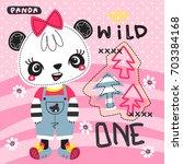 cute cartoon panda girl wearing ... | Shutterstock .eps vector #703384168