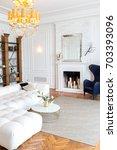 modern white interior design in ... | Shutterstock . vector #703393096