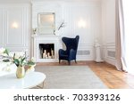 modern white interior design in ... | Shutterstock . vector #703393126