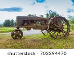 Very Old Rusted Tractor Sittin...