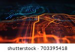 orange and blue technology... | Shutterstock . vector #703395418