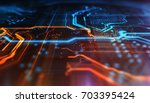 orange and blue technology... | Shutterstock . vector #703395424