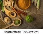 top view thai herbs and spa... | Shutterstock . vector #703395994