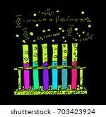 hand drawn chemical test tubes  ... | Shutterstock .eps vector #703423924