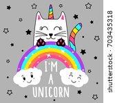 cute cat unicorn  cute graphics ... | Shutterstock .eps vector #703435318