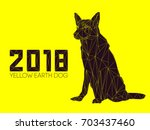 dog is symbol of new 2018 year  ...   Shutterstock .eps vector #703437460