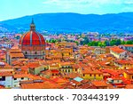 Panorama on top of the tower of the cathedral of Pistoia