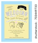 wedding invitation card.... | Shutterstock .eps vector #703449733