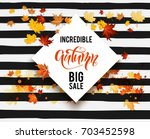 white blank with autumn maple... | Shutterstock .eps vector #703452598