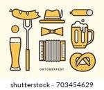 set icons for beer festival on... | Shutterstock .eps vector #703454629