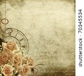 Stock photo  wedding vintage romantic background with roses and clock 70345534